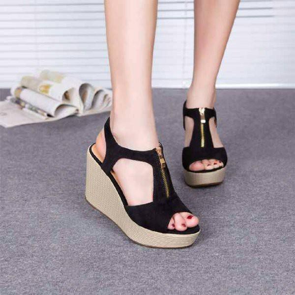 D02 Women Wedges Sandal 7cm - Sandal Wanita Wedges 7 Cm HITAM PEACH TAN  CREAM CAMEL 5f18e1a6be