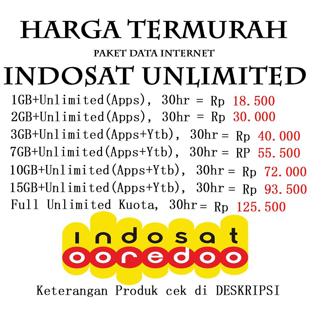 Inject Voucher Kuota Indosat 1gb 2gb 3gb 5gb 7gb 9gb 10gb 15gb Im3 Unlimited Bomber 25gb 30gb 35gb Shopee Indonesia