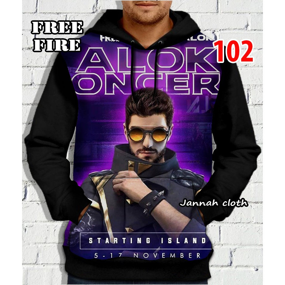 Jaket Sweater Ff Game Free Fire Dj Alok Concert Printing Shopee Indonesia