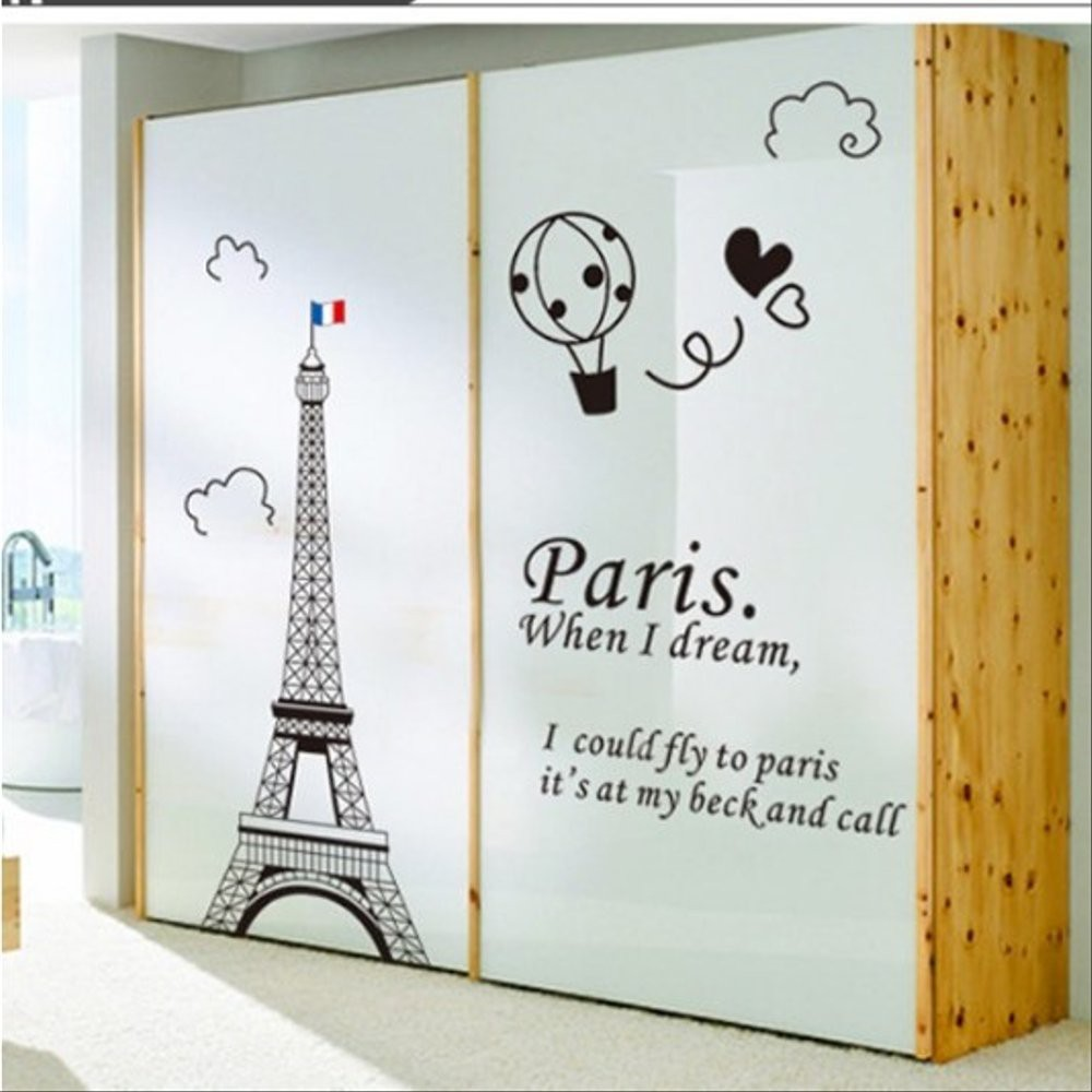 Wallsticker Stiker Dinding Motif Lucu Unik Menara Eiffel I Love Paris