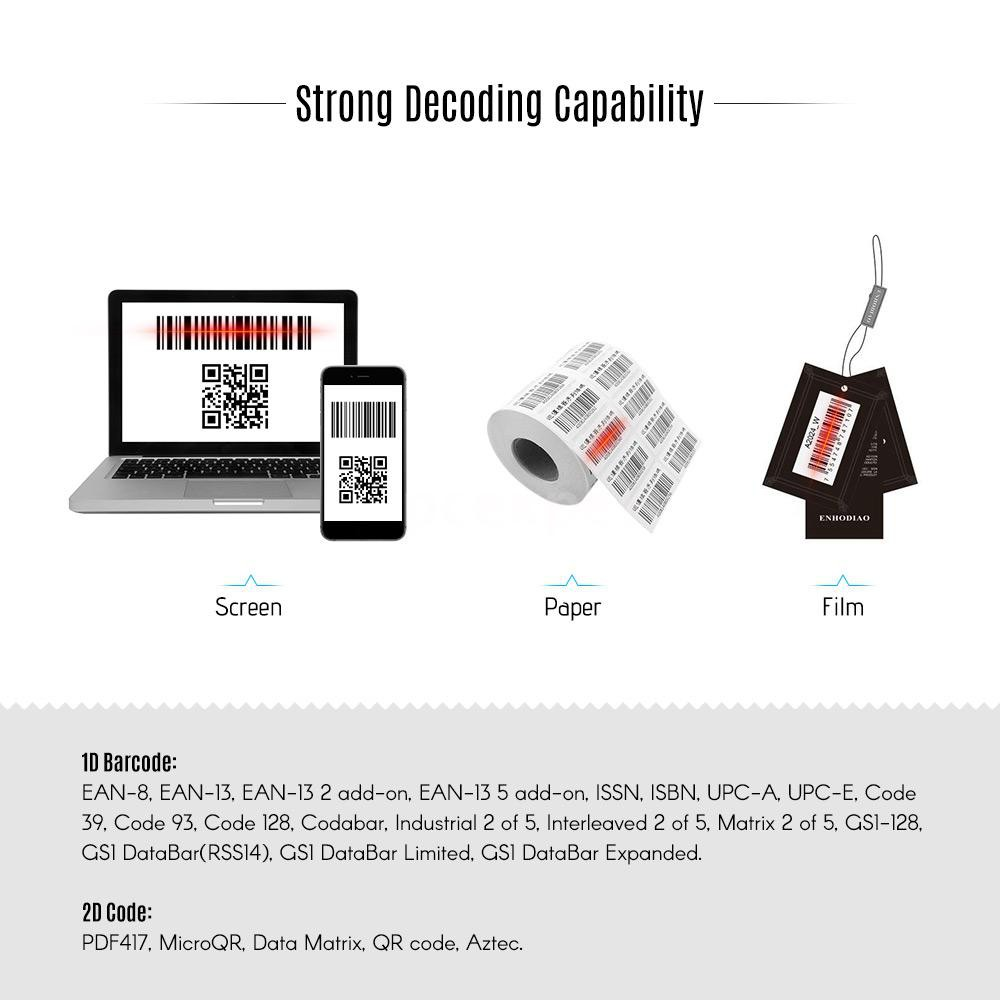 Pcer aibecy wm3l Scanner Barcode Wireless 1D 2D Handheld QR Code PDF417 Bar  QR Code PDF417
