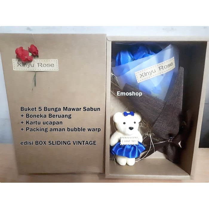 Kado Unik Bunga Edelweis Box + Boneka  ab4e64933a
