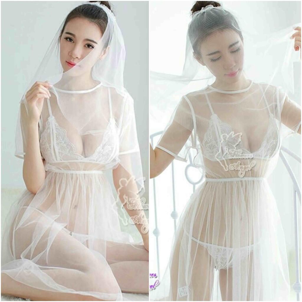 HOT lingerie malam pengantin baru putih milla IMPORT ORIGINAL (GRATIS 12 set  bikini + kerudung !!)