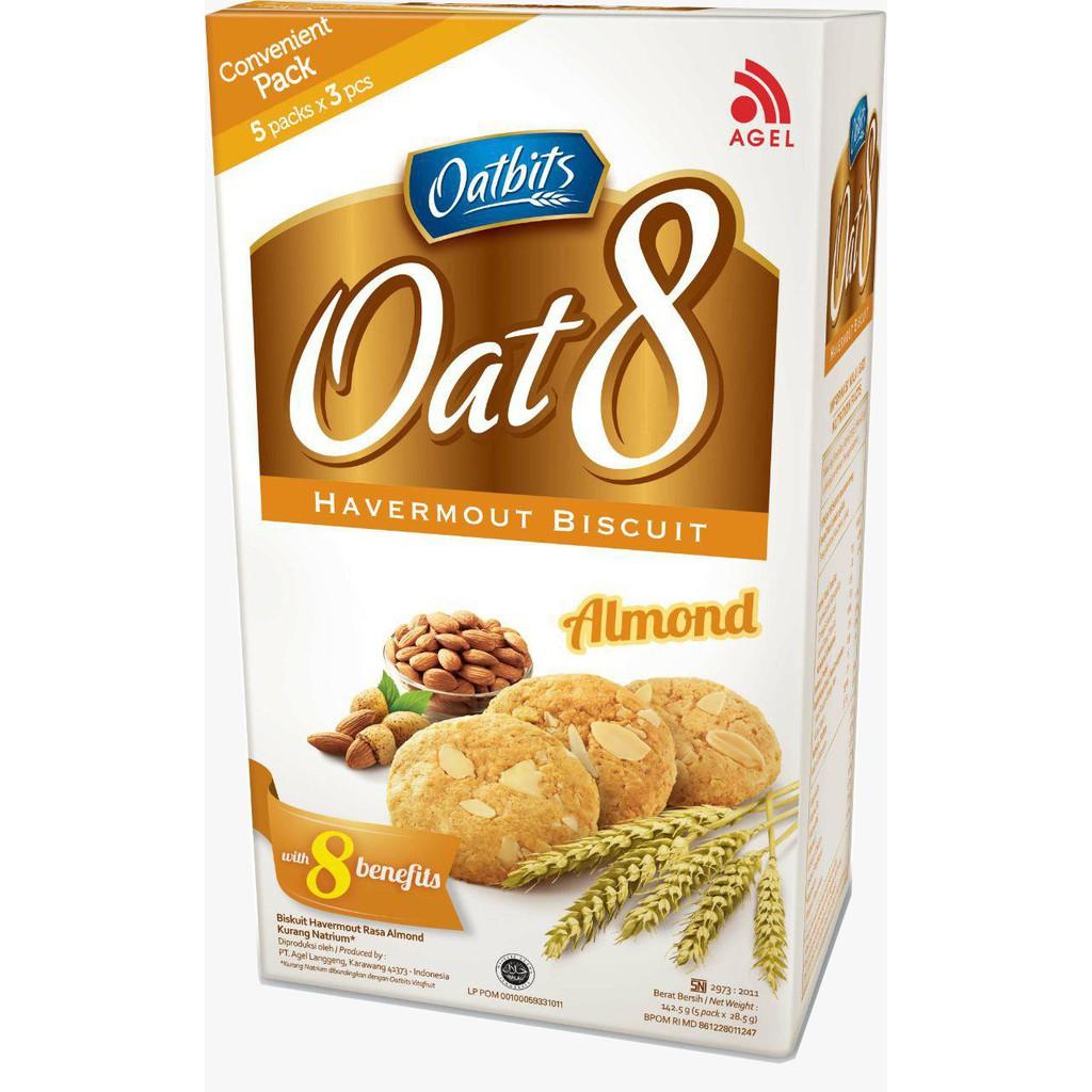 Biskuitkemasan:  Biskuit Oat 8 Rasa Kacang Almond Kemasan Praktis, Biskuit