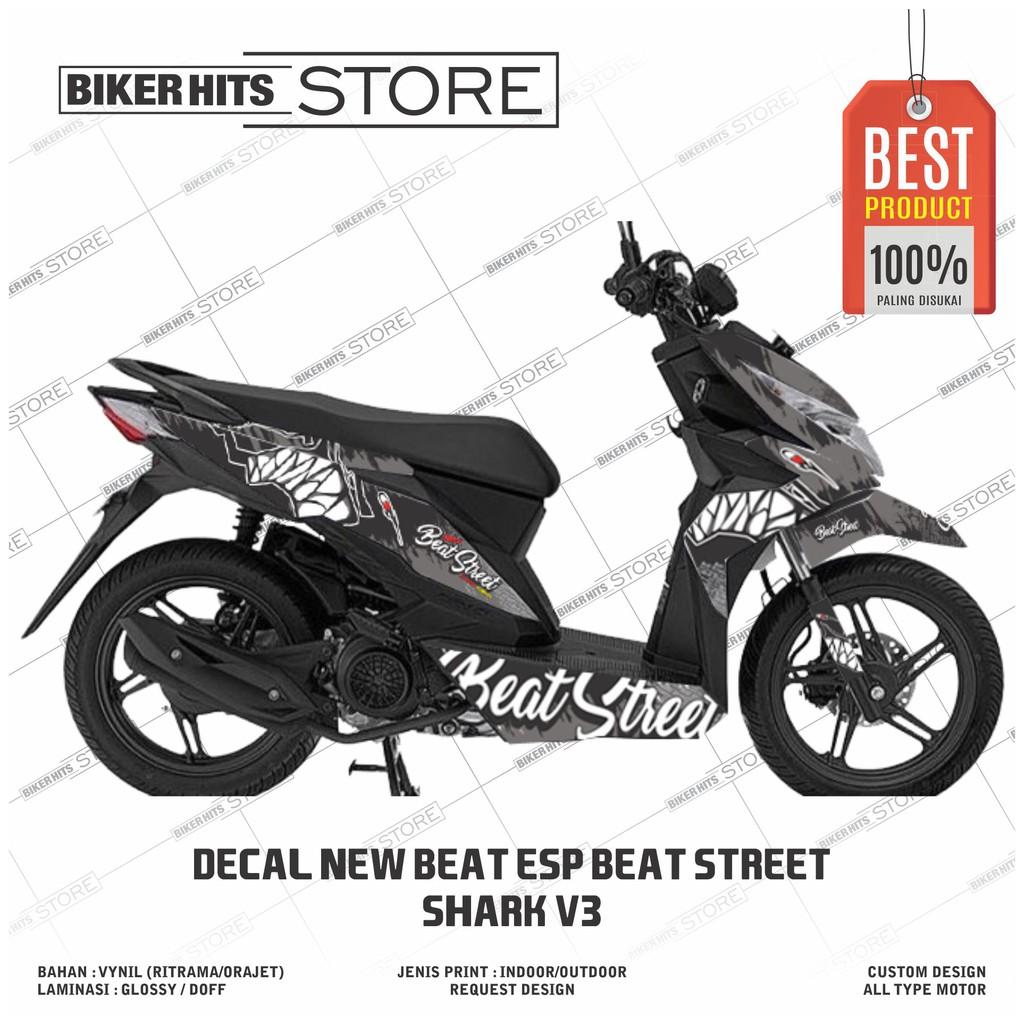 Decal Stiker Motor Full Beat Street Esp Desain Shark Corak Hitam Silver Shopee Indonesia