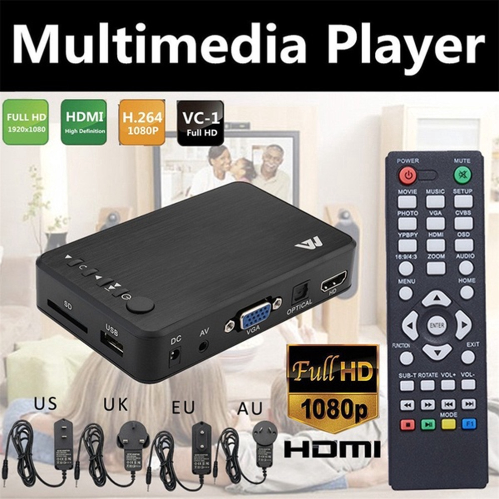 Mini USB 1080P HD HDMI Multi Media Box Player Upscaling SD//MMC//MS with Remote