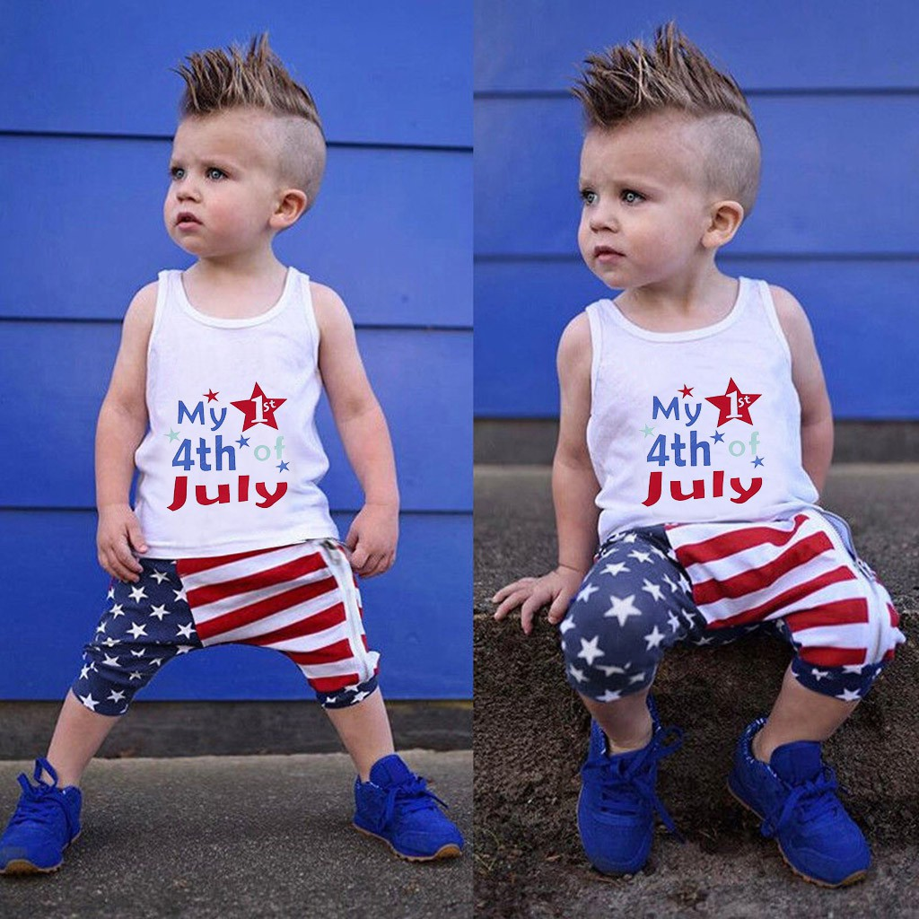 Toddler Kids Boys Girl Stars Striped Vest Tops+Shorts 4th Of July Outfits Set