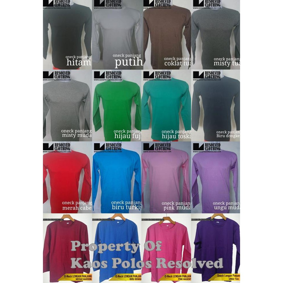 Top Sale Kaos Oblong Polos Lengan Panjang V Neck Unisex T Shirt Kaosyes O Pendek Kuning