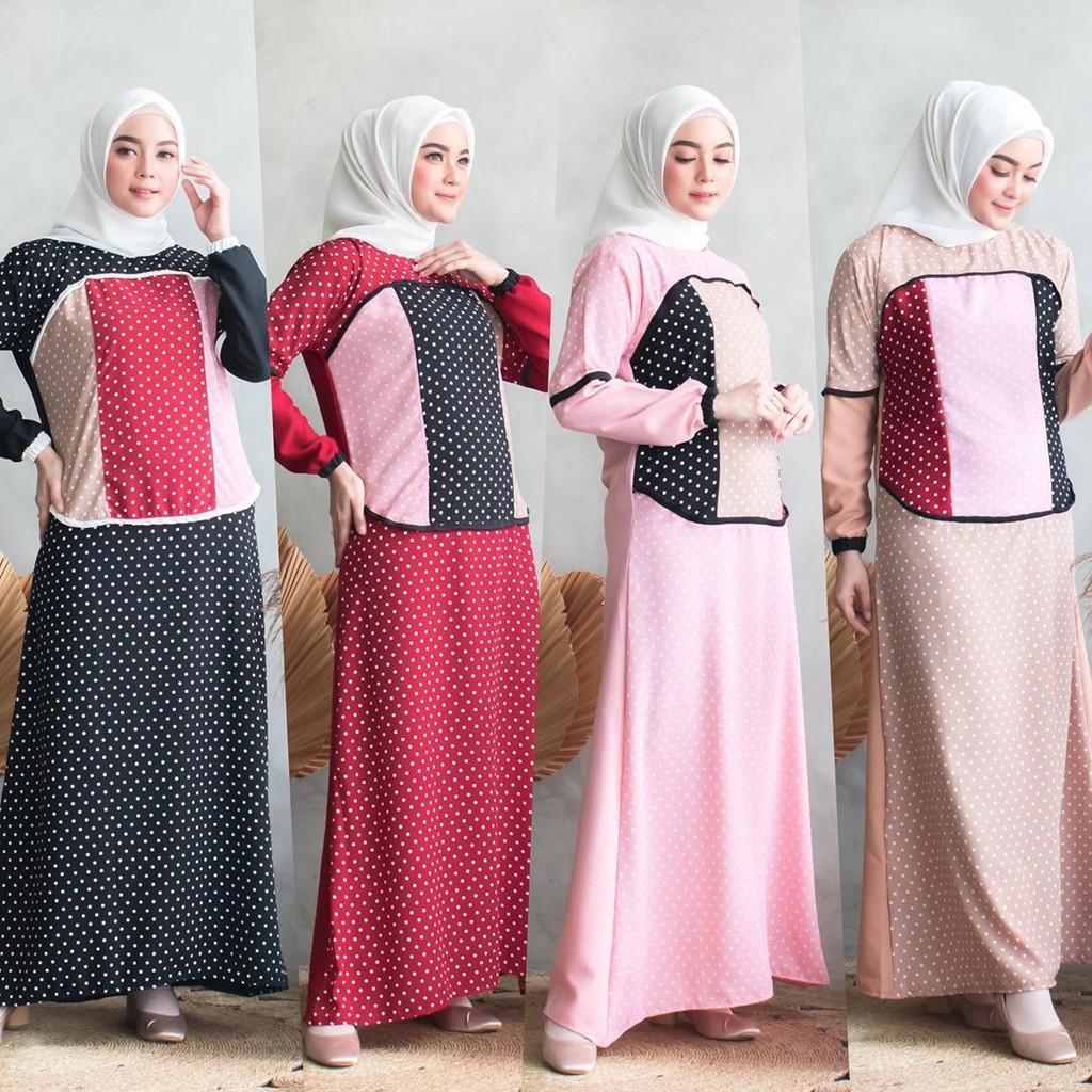 Bisa COD ARUMI POLKA – Gamis murah Gamis polkadot Dress murah Pakaian wanita Dailywear