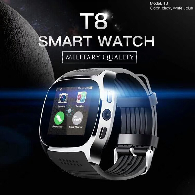 T8 Smart Watch Phone 1.54 inch IPS GSM Bluetooth Watch with Pedometer Camera | Shopee Indonesia