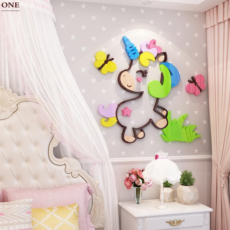 Qt Kartun Unicorn Stiker Wall Sticker 3d Dekorasi Kamar Anak Anak Gadis Kamar Tidur Tata Letak Kamar Tidur Stiker Shopee Indonesia