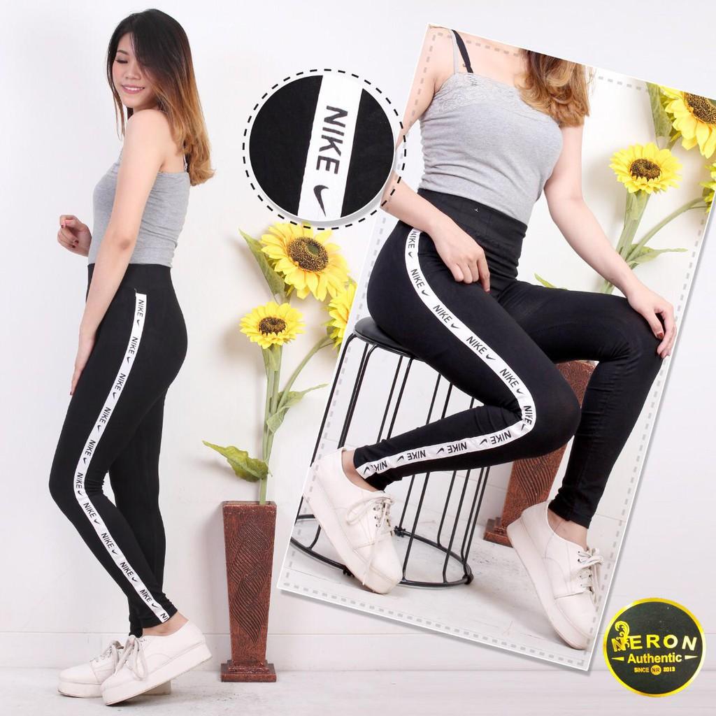 Ll05 Legging Wanita List Samping Tulisan Nike Motif Samping Celana Legging Casual Wanita Shopee Indonesia