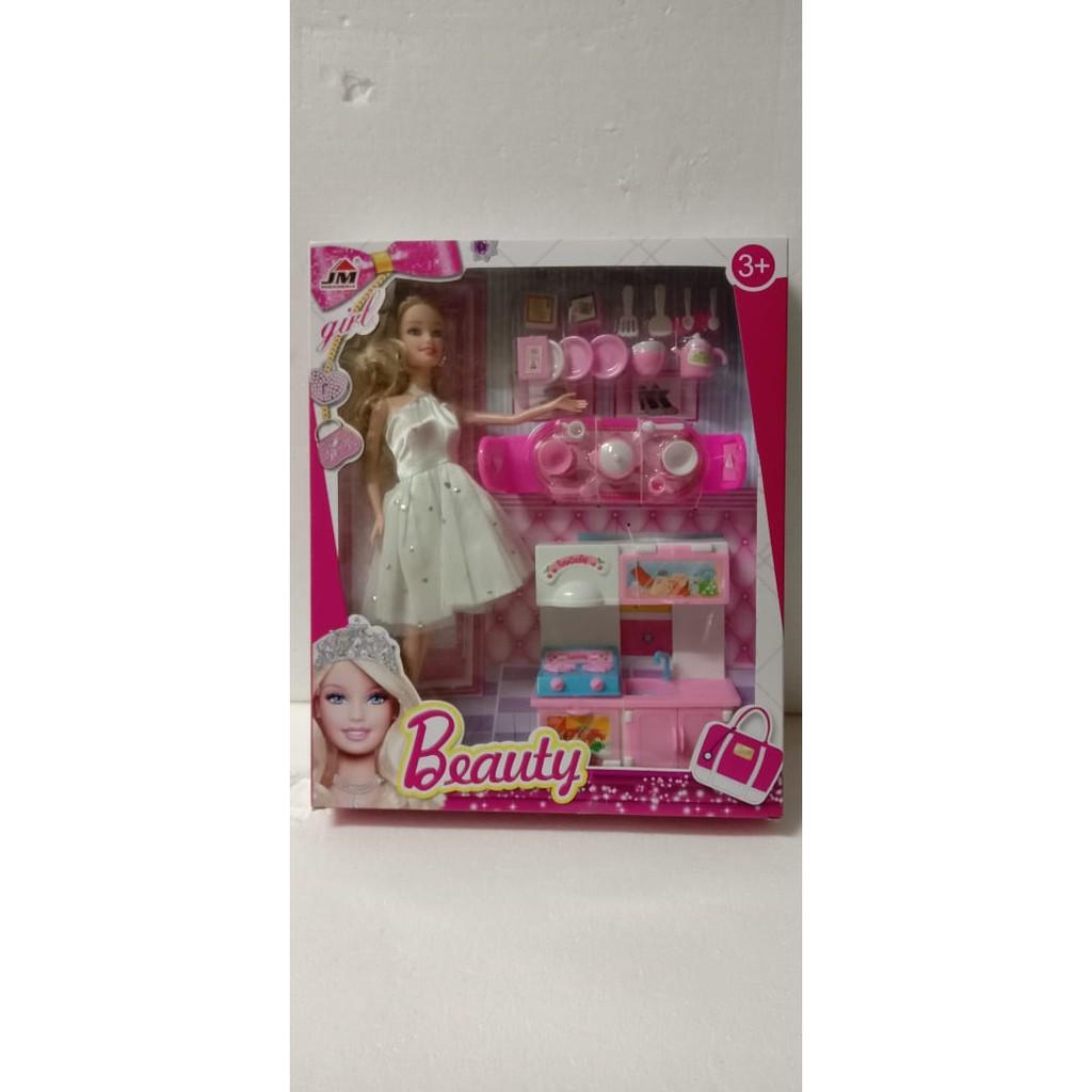 Mainan Anak Perempuan Boneka Barbie Dapur Masak Masakan Shopee Indonesia