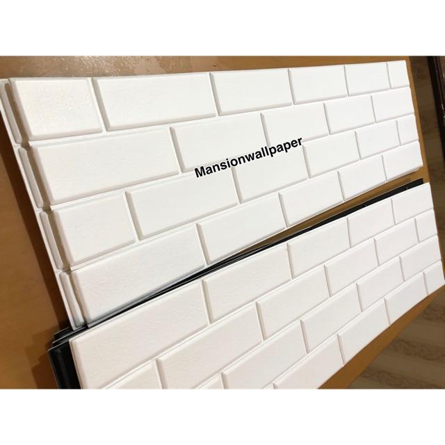 Wallpaper Sticker 3D Foam Batu Bata Putih 1M x 30CM