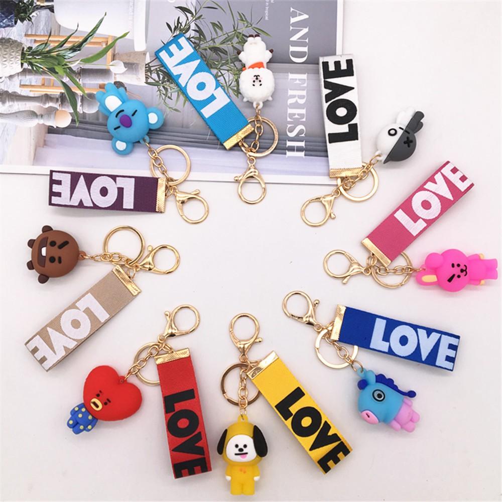 Bayar Di Tempat COD KPOP BTS BT21 Doll Keychain Cartoon Ribbon Bag Pendant Keychain