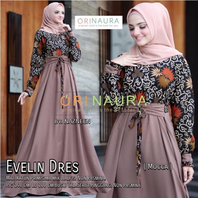 Model Dress Batik Kombinasi Polos Muslim Hijabfest