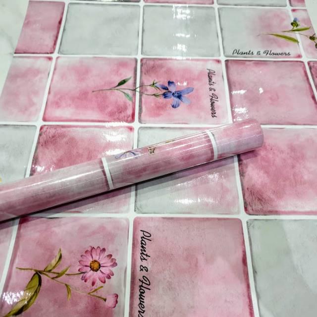 Wallpaper Sticker Dinding Kitchen Set Kamar Mandi Motif Keramik Flower Warna Pink Putih Modern Shopee Indonesia