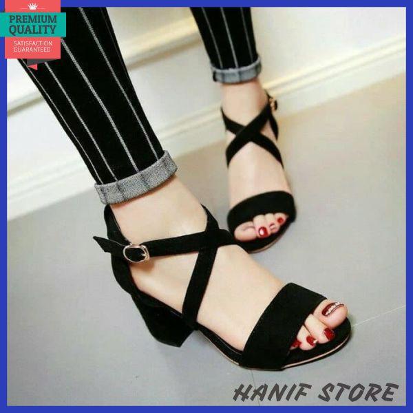 High Quality Heels Tahu Selop Tali Silang Krd 27 Tan Hitam