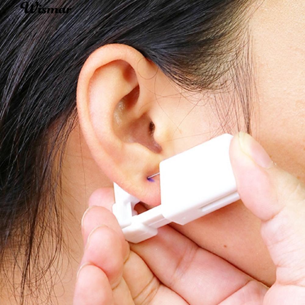 💋Alat Steril Sekali Pakai Telinga Hidung Lip Piercing Dengan Satu Kancing Telinga Berlian Imitasi