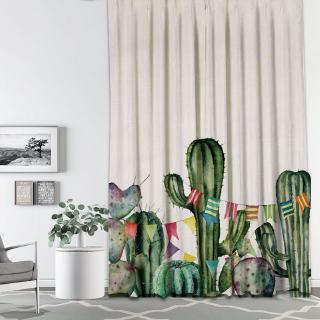 tirai jendela simple motif print kaktus tropis untuk