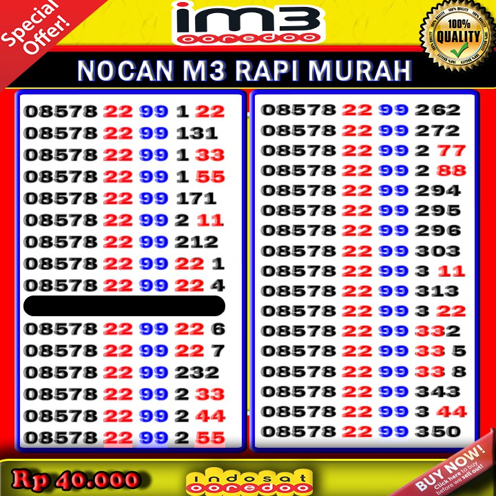 🔥🔥 NOMOR CANTIK IM3 INDOSAT NOCAN INDOSAT IM3 MURAH NOCAN ISAT TRIPLE 8 🔥🔥   Shopee Indonesia