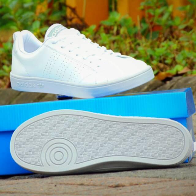 Sepatu Casual Adidas Neo Advantage Grade Ori Full White Putih Kets
