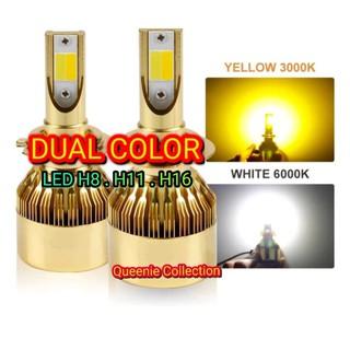 Lampu Led Mobil H8 H11 H16 Dual Color Putih Kuning Shopee Indonesia