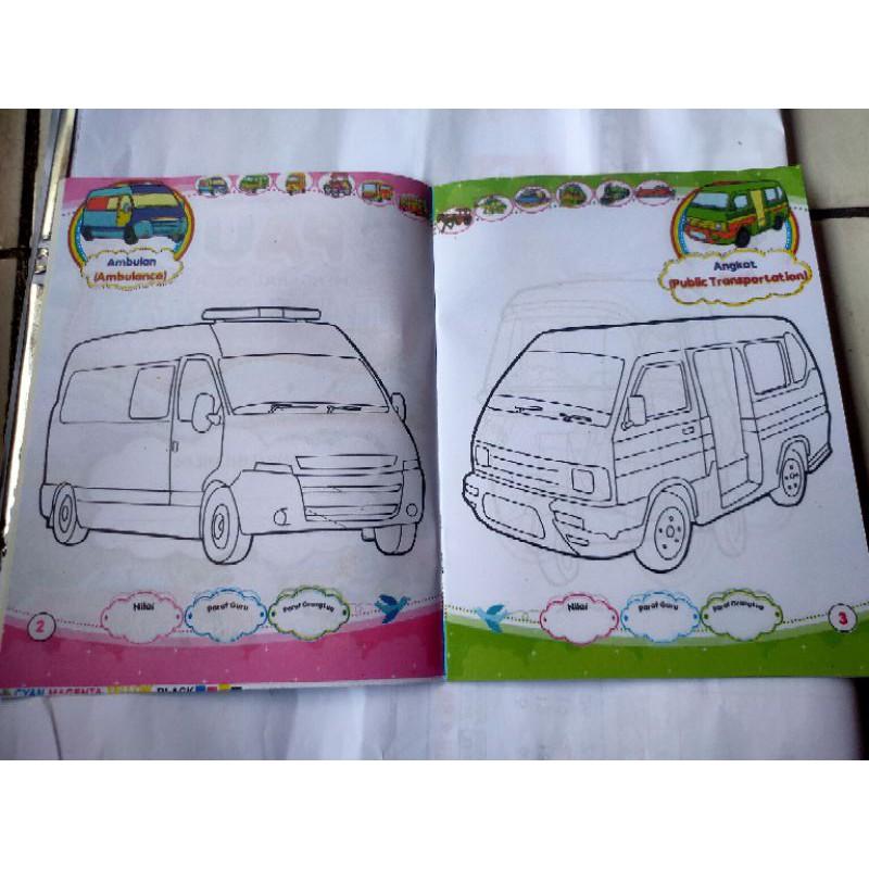 Buku Paud Mengenal Dan Mewarnai Transportasi Shopee Indonesia