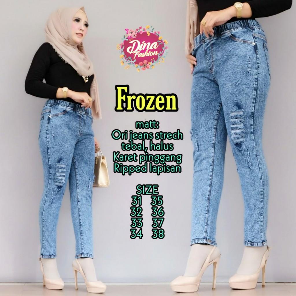 Celana Jeans Frozen Celana Panjang Jeans Cewek Kekinian Celana Jeans Wanita Shopee Indonesia