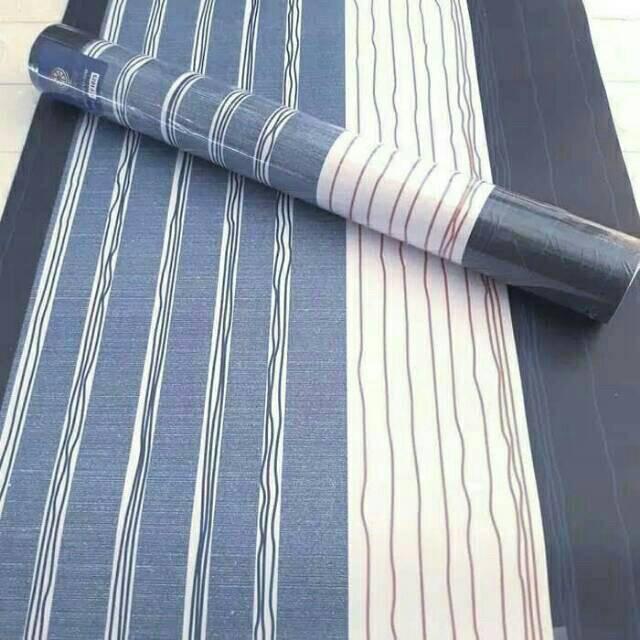 Wallpaper Dinding Ukuran 45 Cm X 10 M Motif Gradasi Navy Biru Salur Navy Biru Tua
