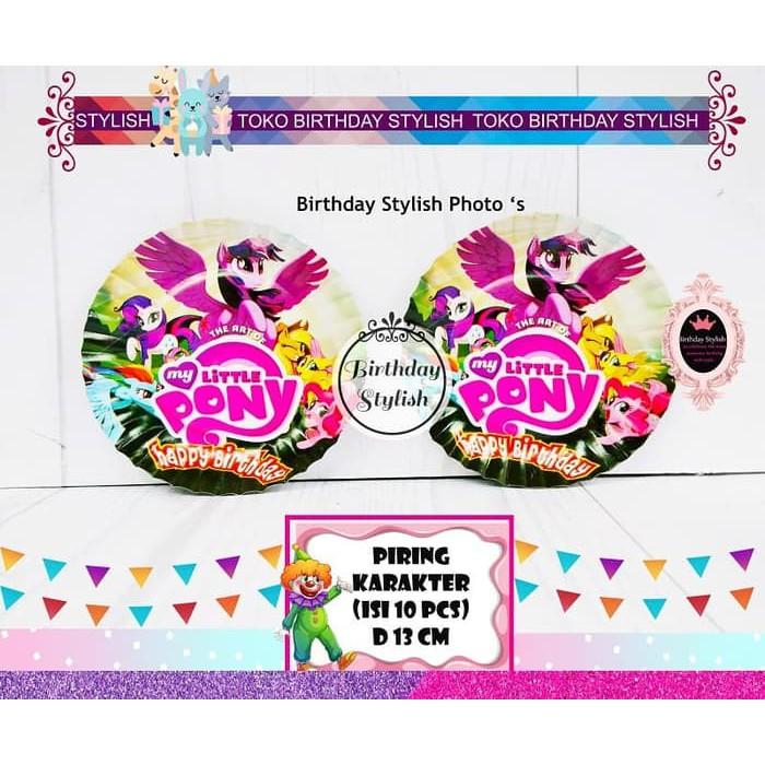 Piring Kue Ulang Tahun Karakter My Little Pony Isi 10 Pcs