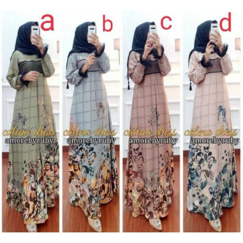 (BISA COD) gamis calena dress/Jasmine dress/Aline dress Amore by Ruby ori