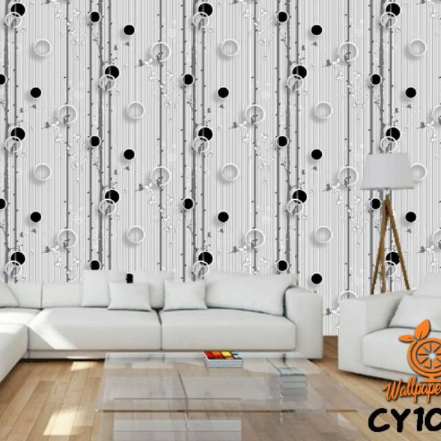 Wallpaper Dinding Murah Medan Wallpaper Motif Salur Polkadot Hitam Shopee Indonesia