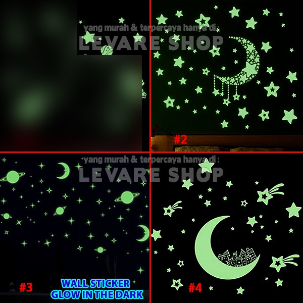 1pcs glow in the dark star / stars /bintang - stiker dinding / wall