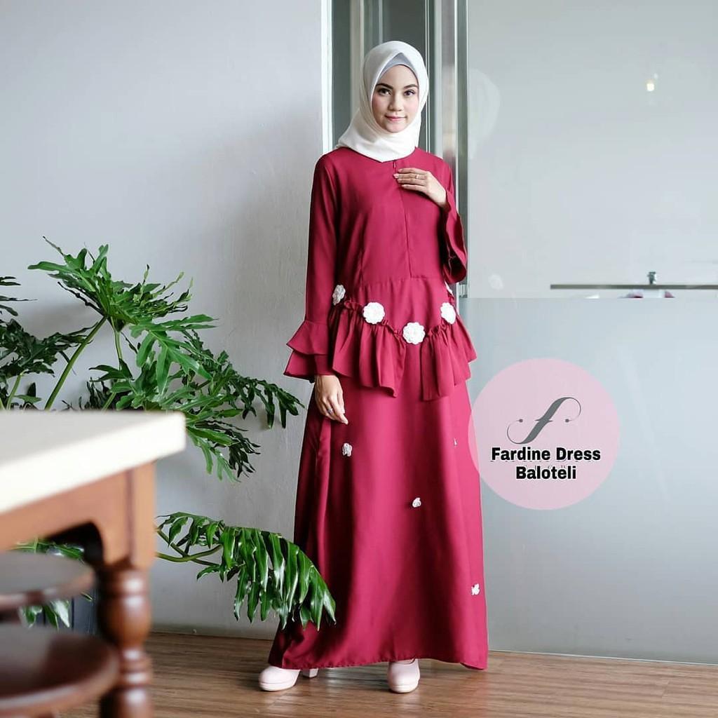 Doom Overall Navy Bahan Baloteli Baju Wanita Muslim Modern Pakaian Gamis Cewek Murah | Shopee Indonesia