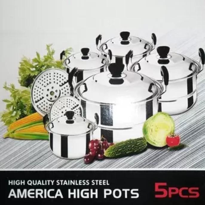 PANCI 1 SET 5 Pcs KINGKO America High Pots + Steamer Stainless steel   Shopee Indonesia