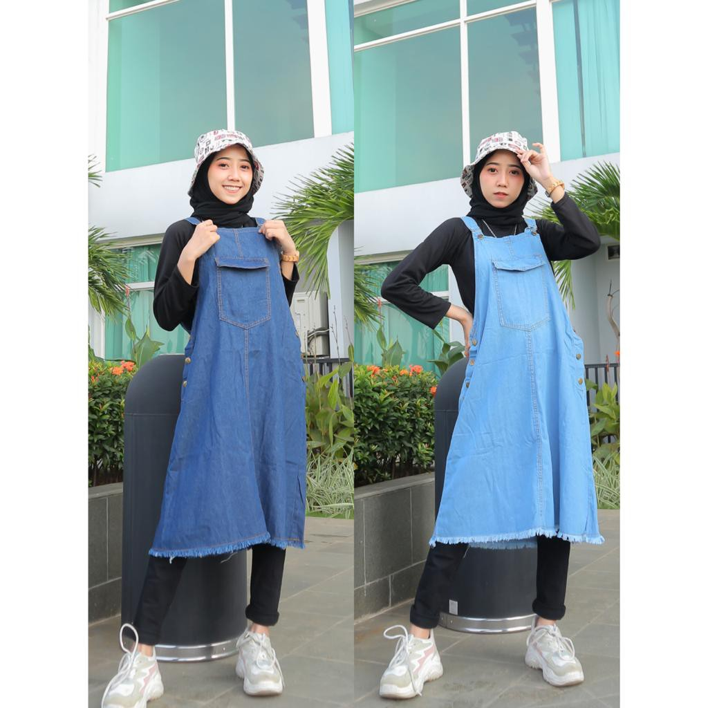 Bisa COD FRIANDA MINI OVERALL – Overall Ootd Fashion muslim Overall jeans