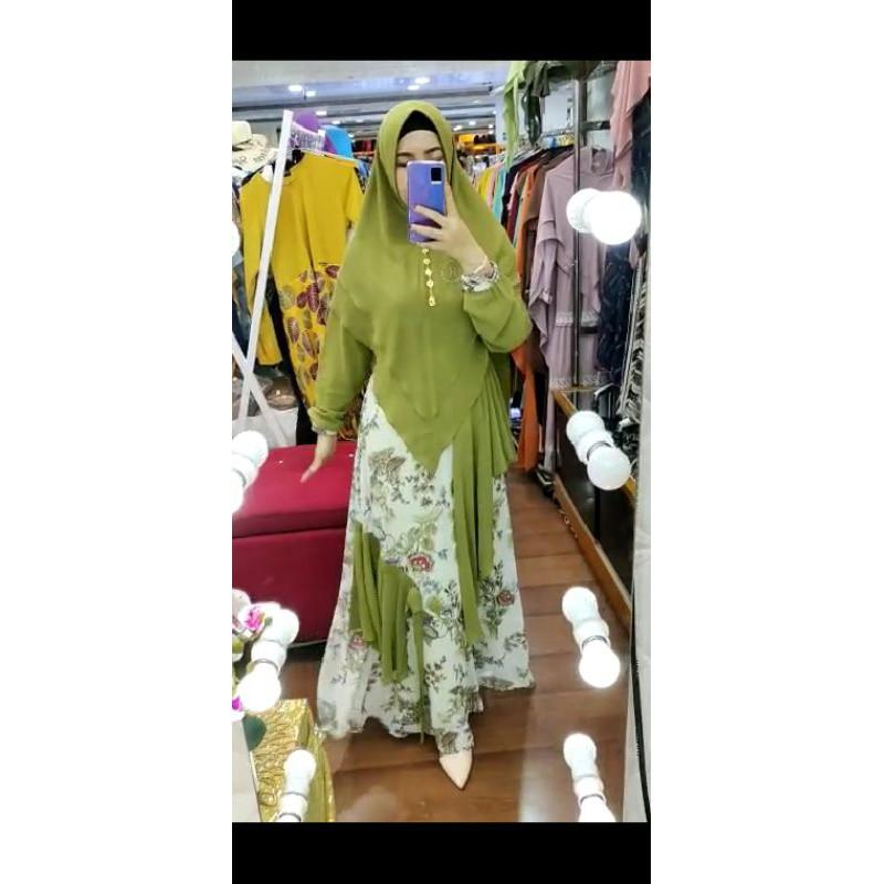 Ready khadijah syari by HK gamis motif