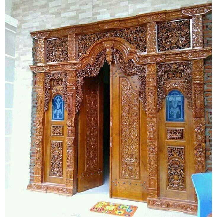 Pintu Rumah Kusen Klasik Ukir Gebyok Kayu Jati | Shopee Indonesia