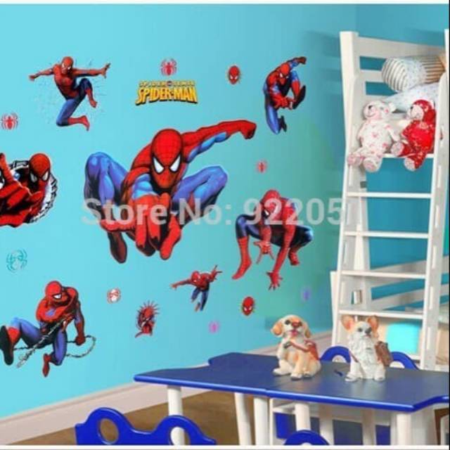 Stiker Dinding 50x70cm Motif Karakter Superhero Spiderman Avenger Dekorasi Kamar Shopee Indonesia