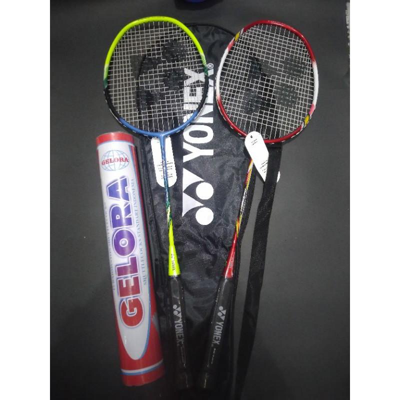 RAKET badminton yonex satu pasang 1 tas 2 grip & kok