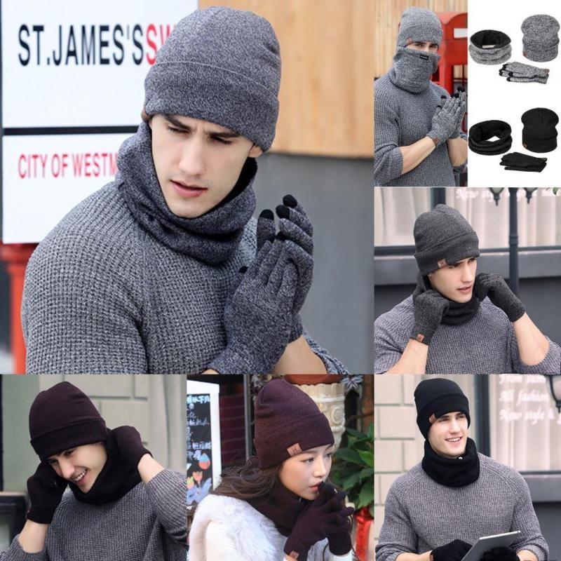 Set 3Pcs Topi Wool Rajut Hangat+Sarung Tangan+Scarf Pria Wanita untuk Musim  Dingin  dbe49ac0d6