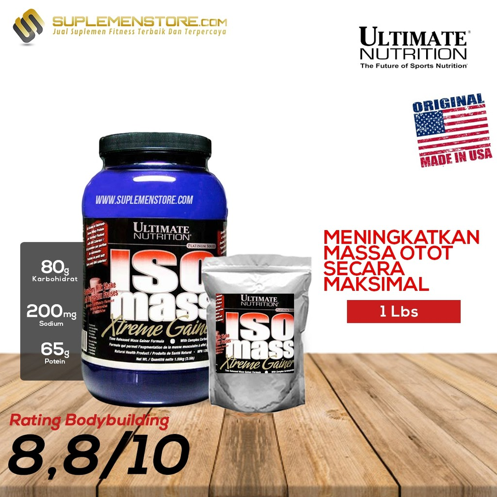 Ultimate Nutrition Iso Mass Xtreme Gainer Ecer 2 Lb Penambah Berat Ph Prohybrid Lbs Bpom Halal Bb Susu Badan Dan Massa Otot Shopee Indonesia