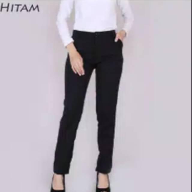 Celana Panjang Wanita Kantor Formal Resmi Kain Hitam Polos M L Xl Terbaru Termurah Terlaris Tov99 Shopee Indonesia