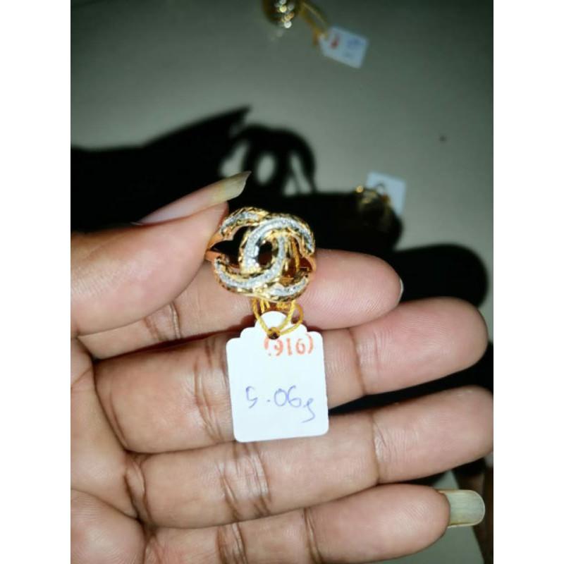 cincin emas 916/23 karat model channel