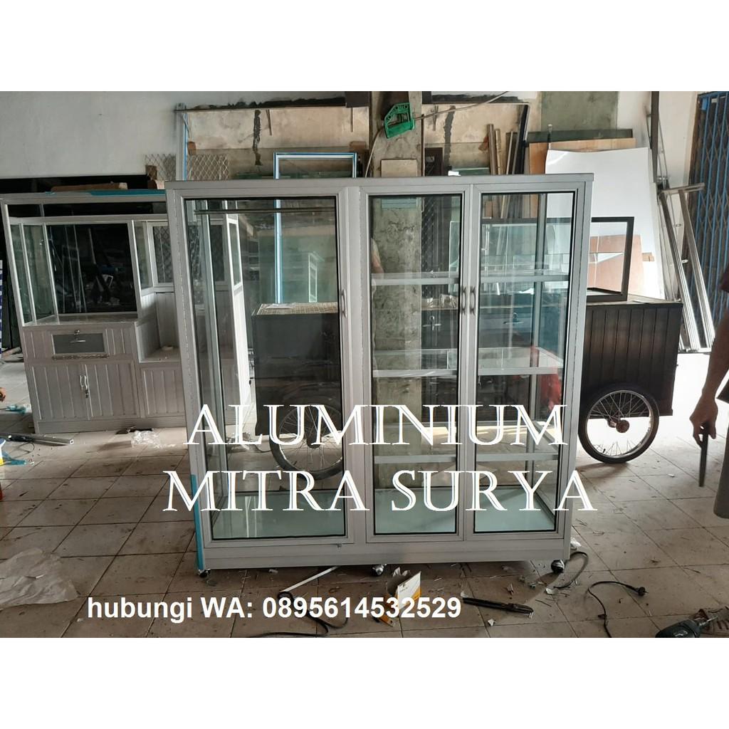 Lemari Pakaian Baju Rak Kaca Display Aluminium Super Terima Kustom Pesanan Khusus Shopee Indonesia
