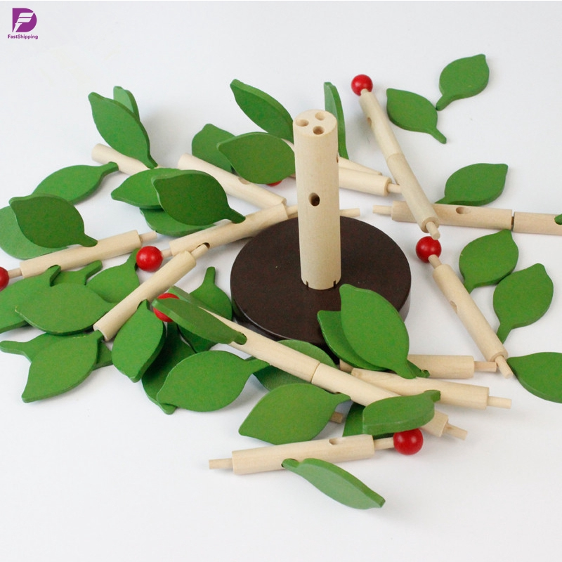 DIY Building Kits Inserting Leaves 3D Tree Blocks Wooden Building Blocks Set Kids Early Educational Toy for Girls and Boys Yellow