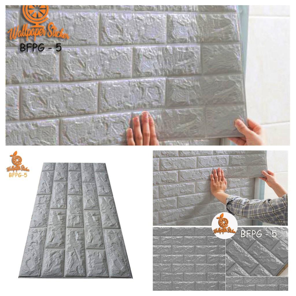BAYAR DITEMPAT Wallpaper 3D Modern Foam Batu Bata Brickfoam ABU ABU GLOSSY TERMURAH
