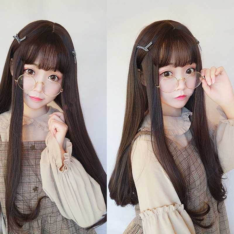 Cod Wig Rambut Panjang Perempuan Rambut Lurus Gesper Wig Poni Udara Tipis Panjang Aksesoris Shopee Indonesia
