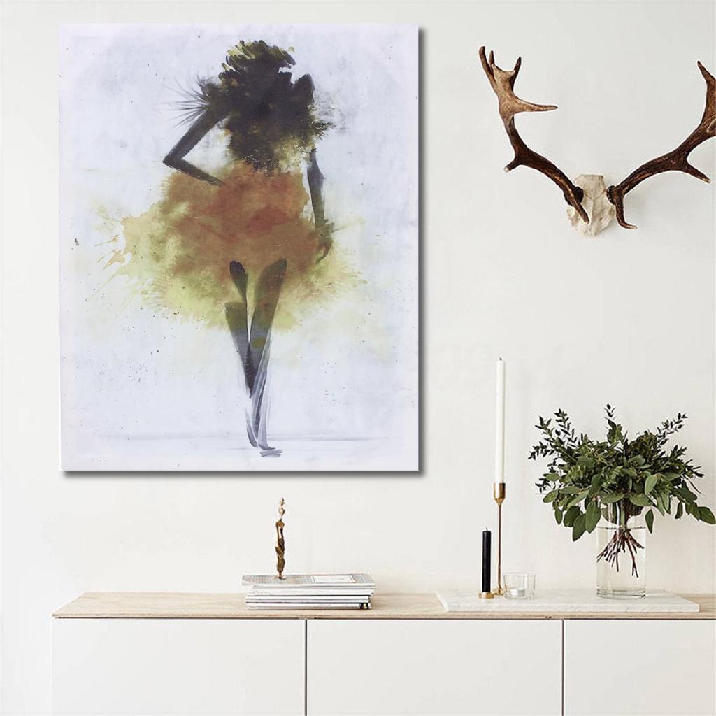 Bingkai Lukisan Desain Rusa Nordic Abstrak Bahan Kayu Warna Polos